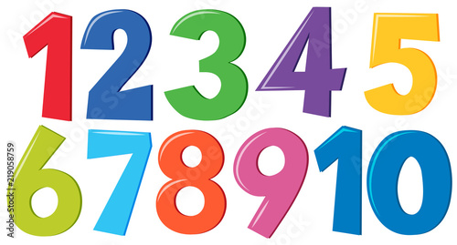 Set of colorful numbers Canvas-taulu