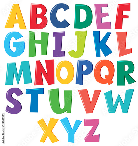Colourful english alphabet on white background Wall mural