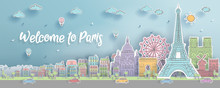 Panorama Of Top World Famous Landmark Of Paris, France For Travel Poster And Postcard, In Paper Cut Style And Doodle Style Vector Illustration.