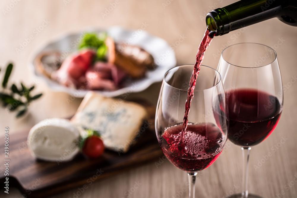 Fototapety, obrazy: 赤ワインと料理