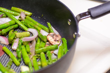 Cooked Asparagus And Onion In ...