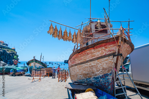 Fishing boats in the port. Madeira. Portugal