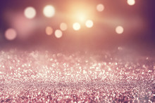 Rose Gold Glitter Lights Bokeh...
