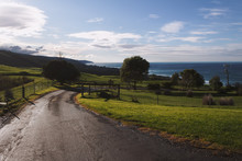 Farm Road With Great Ocean Road Behind In Melbourne, Australia