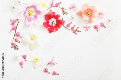 Foto op Canvas Bloemen spring flowers on white background