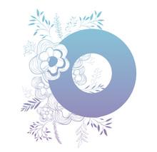 Letter O With Floral Decoration Vector Illustration Design
