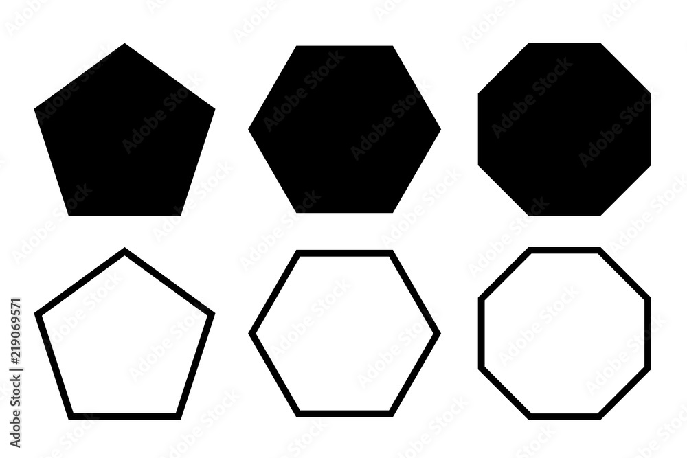 Fototapety, obrazy: pentagon, hexagon, octagon icon. vector geometry pentagonal, hexagonal, octagonal polygon. five, six, eight sided polygon line