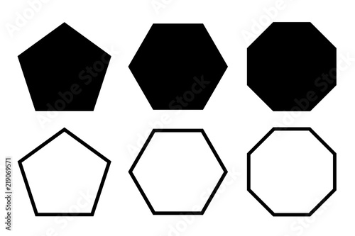 pentagon, hexagon, octagon icon Wallpaper Mural