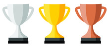 Trophy Cup Icon, Silver, Gold ...