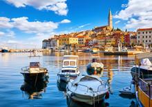 Rovinj, Croatia. Motorboats An...
