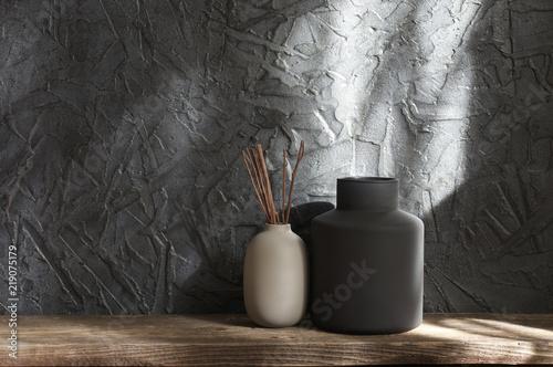 Fototapeta Neutral colored vases, home decor obraz