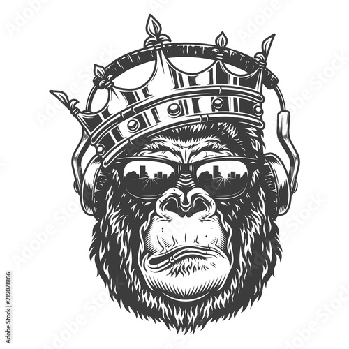 Gorilla head in monochrome style Wallpaper Mural