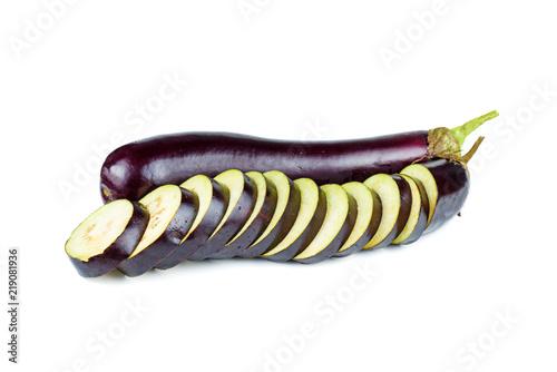 Fototapeta Whole and sliced eggplants isolated on white background obraz