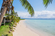 Manase Beach, Savai'i, Samoa, South Pacific - blue sea and sky with coconut palm trees and fale accommodation