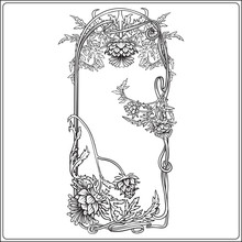 Frame In Art Nouveau Style Wit...