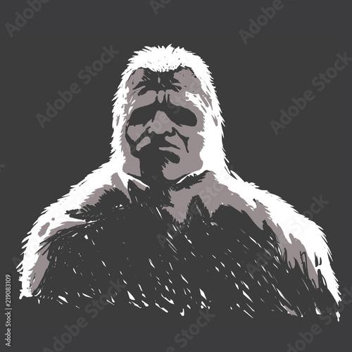 Sasquatch black and white Canvas Print