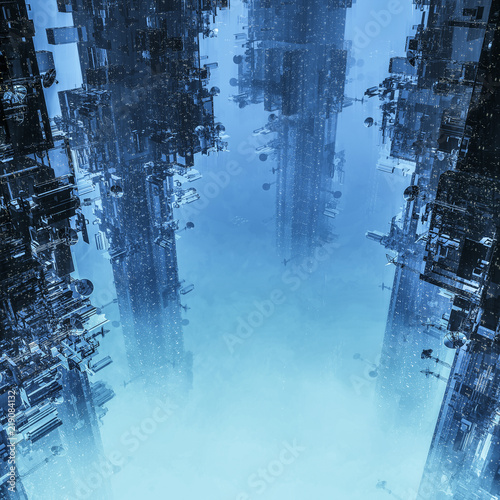 Space colony towers / 3D illustration of dark futuristic city shrouded in clouds Poster Mural XXL