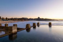 Rock Pool Level View Of Coogee Beach, Sydney, Australia.