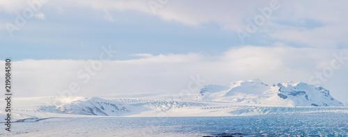 Cuadros en Lienzo Glaciers and iceberg panorama in jokulsalon lagoon Iceland