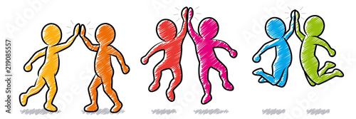 Valokuva  Set: Farbige Strichmännchen beim High-Five / Schraffierte Vektor-Zeichnung