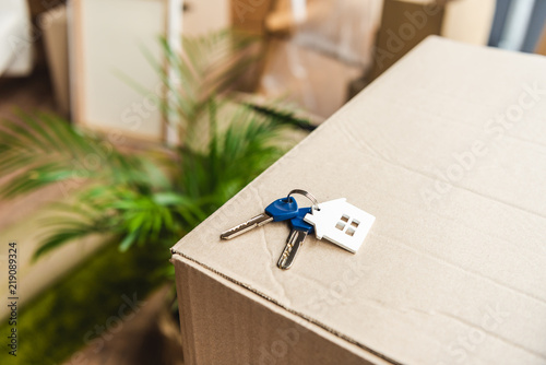 Fotografia  close-up view of keys from new house on cardboard box during relocation