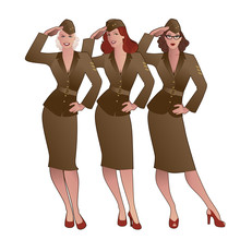 Three Army Girls In Retro Style Wearing Soldiers Uniform From The 40s Or 50s Doing Military Salute
