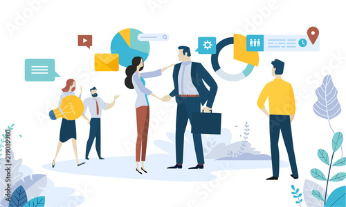 Vector illustration concept of social media, networking, online communication, seo, internet advertising, market research, data analysis, business strategy, consulting.