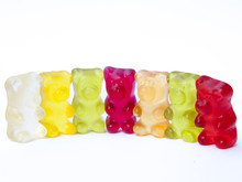 Gummy Bears Candy In A Row On ...