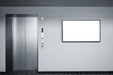 Blank Lcd Screen Media Disply On Wall Indoor Building With Elevator