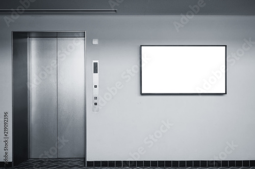 Pinturas sobre lienzo  Blank Lcd screen media disply on wall Indoor Building with elevator