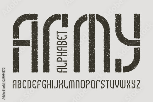 Army alphabet  Gaming stylized military font  Isolated