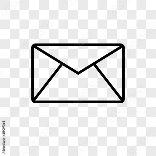 Email envelope outline shape with rounded corners vector