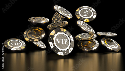 Fotografía  golden vip casino chip 3d