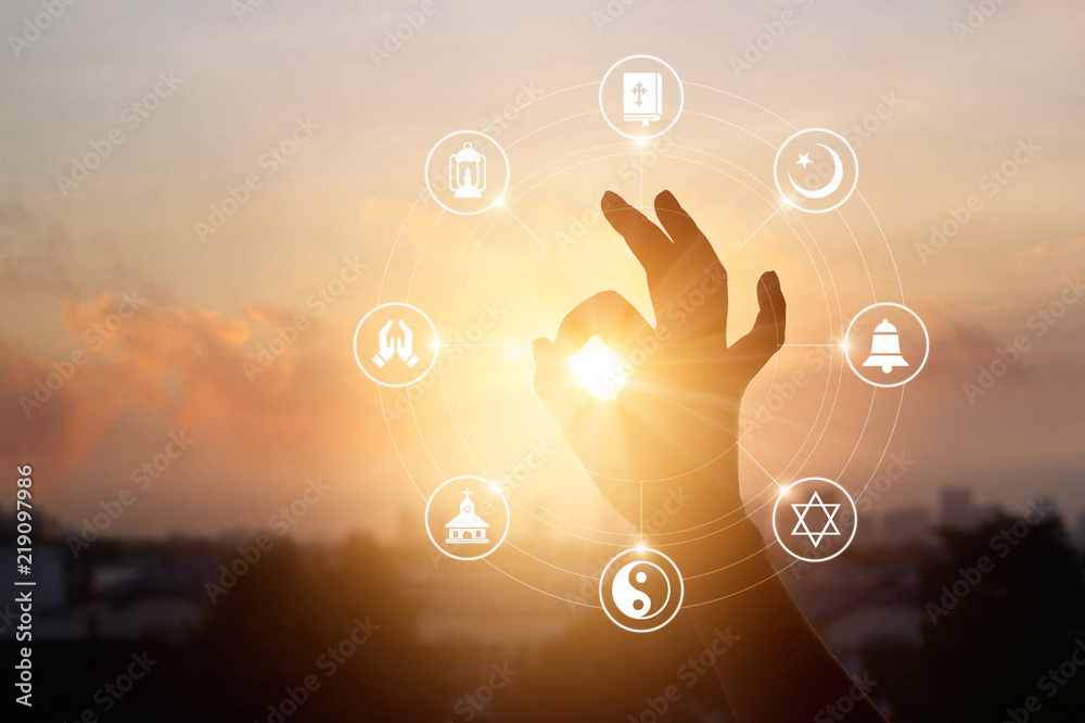 Fototapety, obrazy: Woman hands praying for blessing from god and religions icon on sunset background