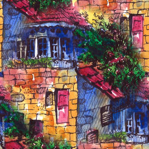 akwarela-bezszwowe-wzor-letni-krajobraz-z-budynkiem-akwarela-ilustracja-szablon-projektu-karty-z-pozdrowieniami-pocztowka-z