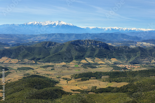 фотография  View of pyrenees from Chateau Aguilar, France
