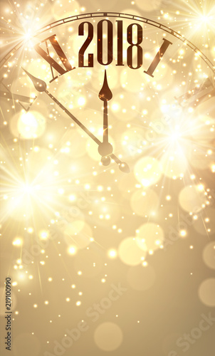 gold bokeh 2019 new year background with clock