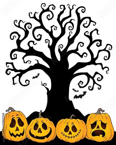 Foto op Canvas Voor kinderen Halloween tree silhouette topic 2