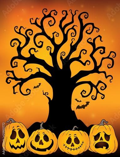 Foto op Canvas Voor kinderen Halloween tree silhouette topic 3