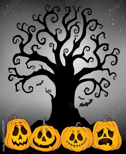 Foto op Canvas Voor kinderen Halloween tree silhouette topic 4