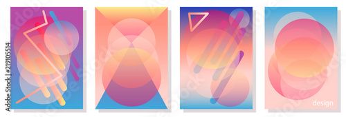 Photo Set of colorful A4 covers with circles.