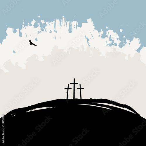 Fotografía  Vector illustration on Christian theme with three crosses on Mount Calvary on ab