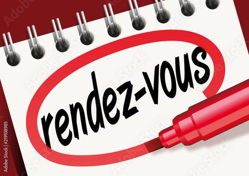 Fotografie, Obraz  Rendez-vous, mot, bloc-notes, entrevue, réunion, convocation, rencontre, client,