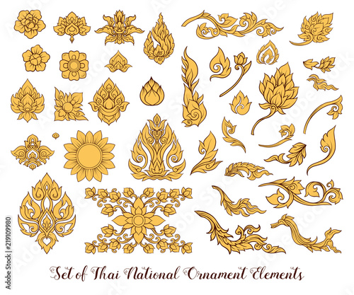 A set of elements of traditional Thai ornament. Fototapete