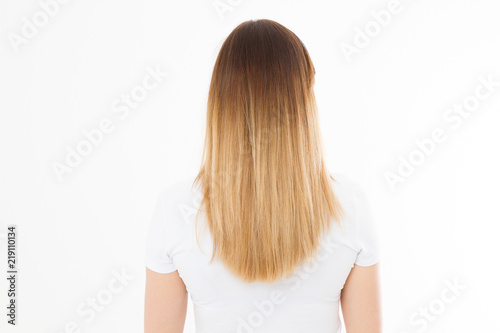 Brunette Girl With Blonde Ombre Long And Smooth Straight Healthy