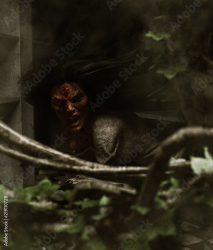 Fotografia 3d illustration of ghost woman in haunted house