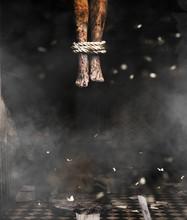Devil's Legs,3d Illustration Of Dead Body's Legs Hang From The Ceiling