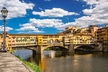 Ponte Vecchio The Famous Arch Bridge In Florence, Italy.