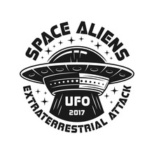 UFO Or Aliens Spaceship Vector Black Emblem