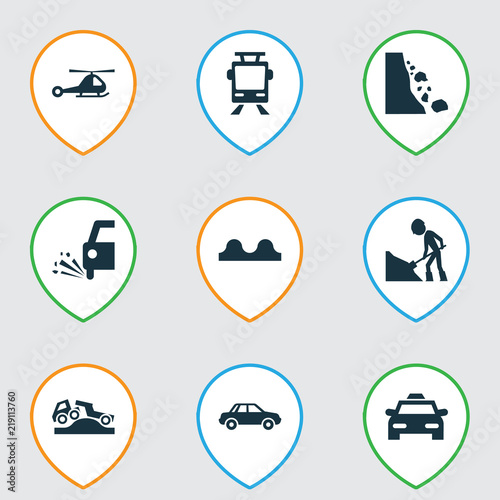 Fotografía  Transport icons set with tram, beware, falling rock and other slippery  elements